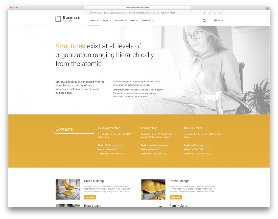 yellow business html construction company template