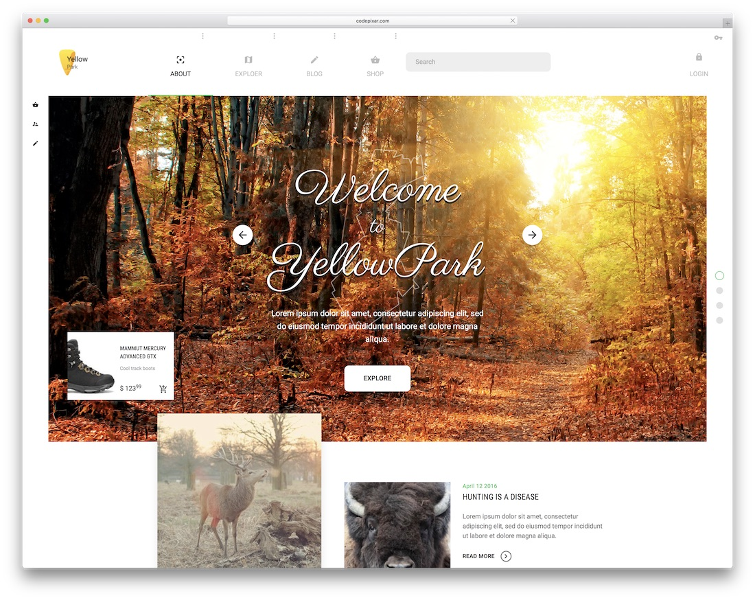 yellowpark bootstrap social network template