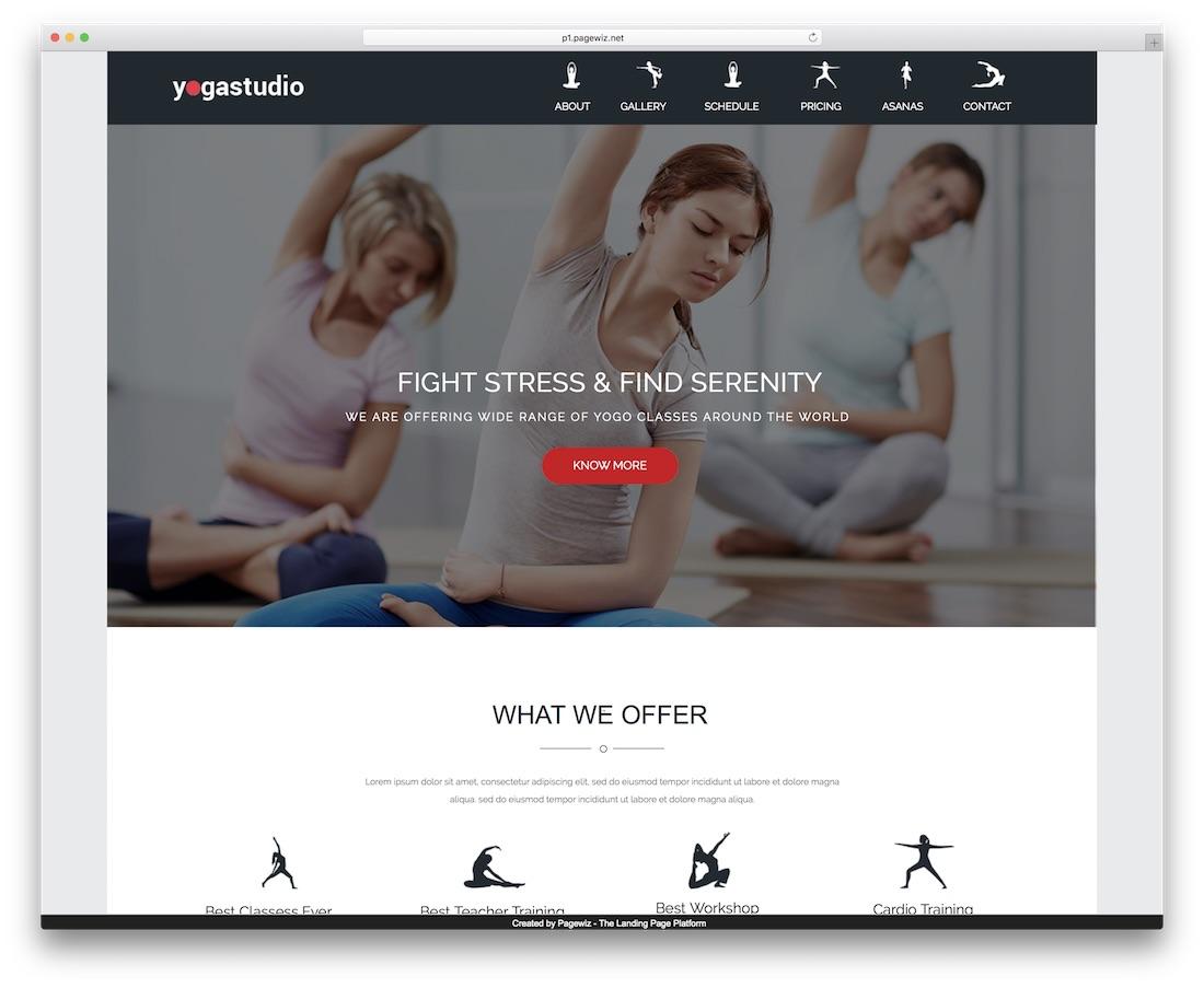 yoga studio pagewiz landing page template