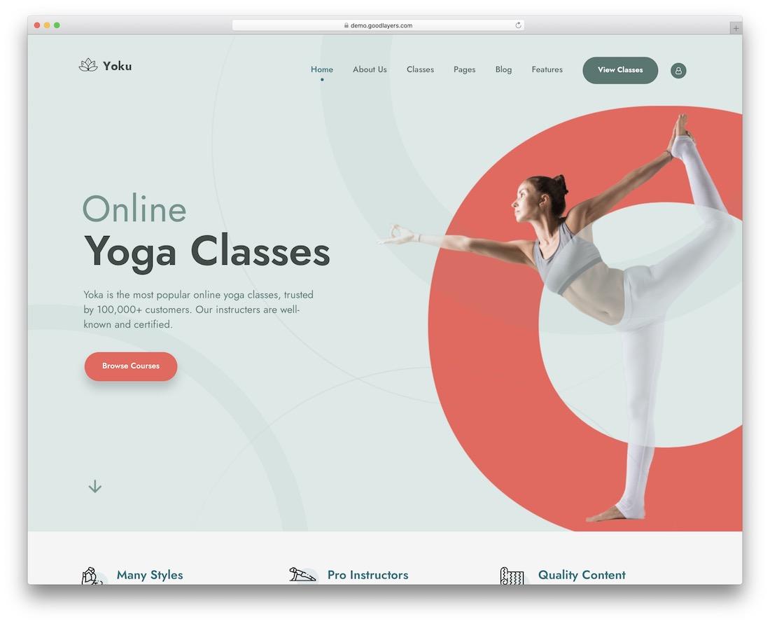 yoku yoga wordpress theme