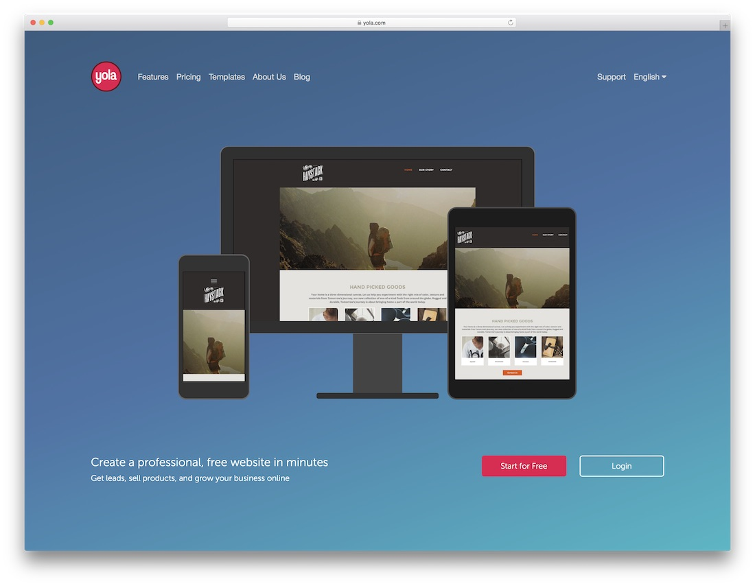 yola drag and drop website builder