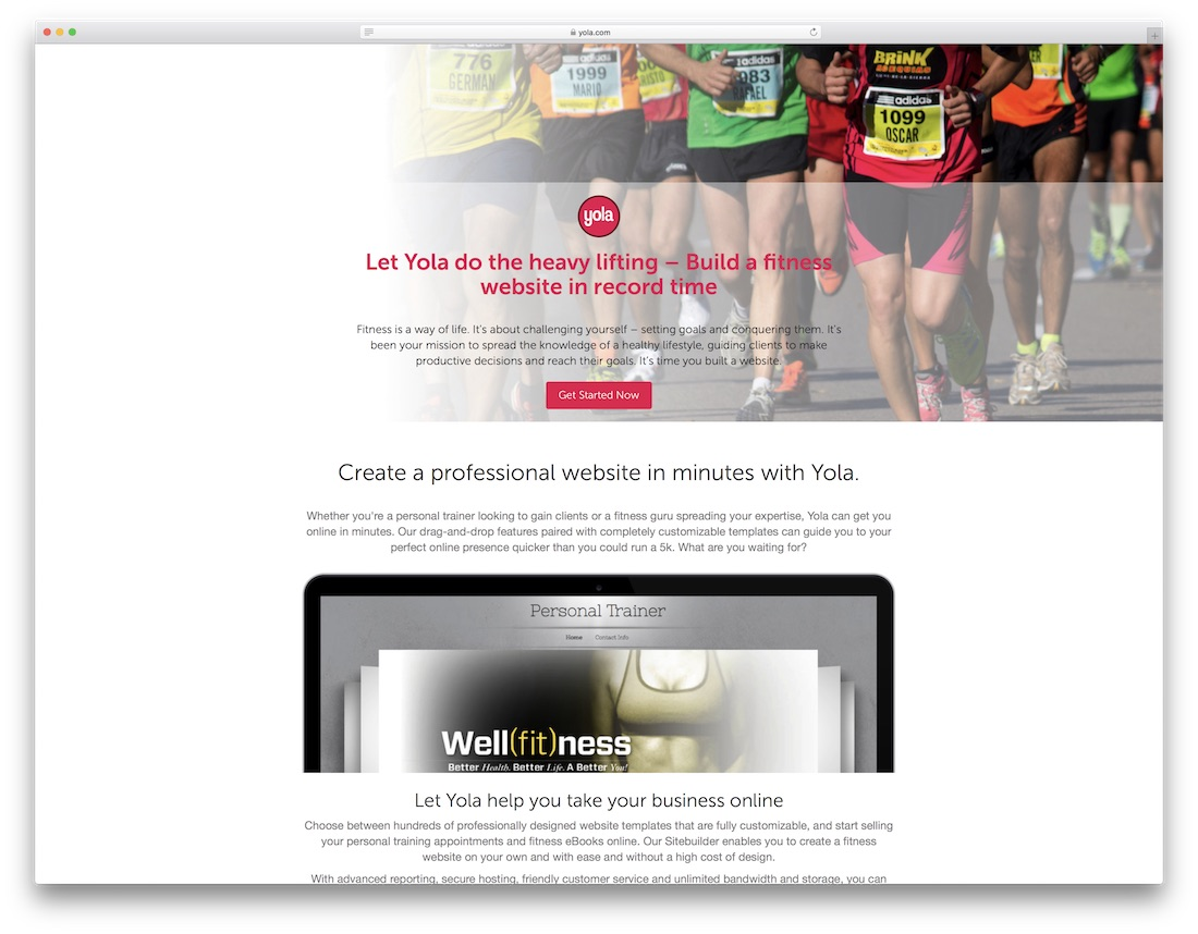 yola website builder for fitness studio