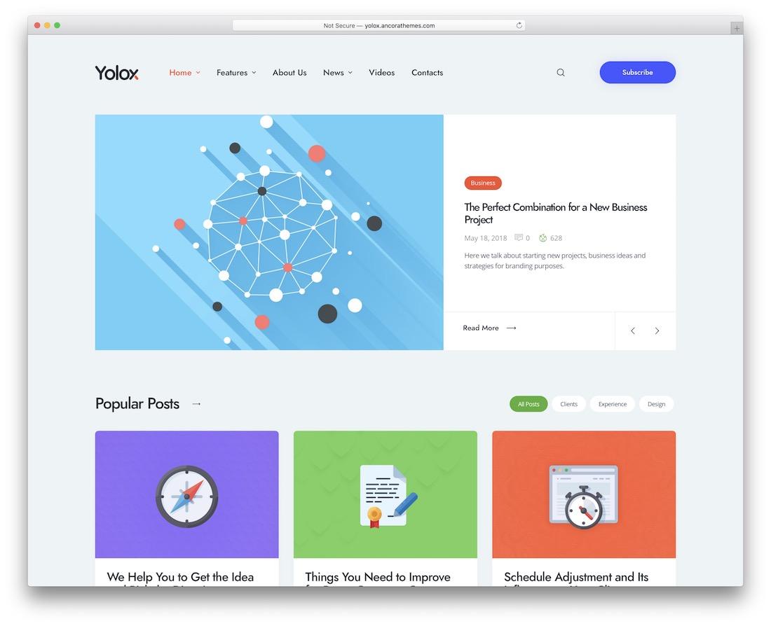 yolox corporate blog theme