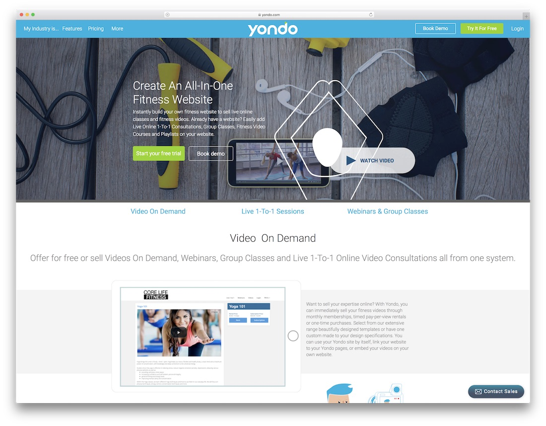 yondo website builder for fitness studio
