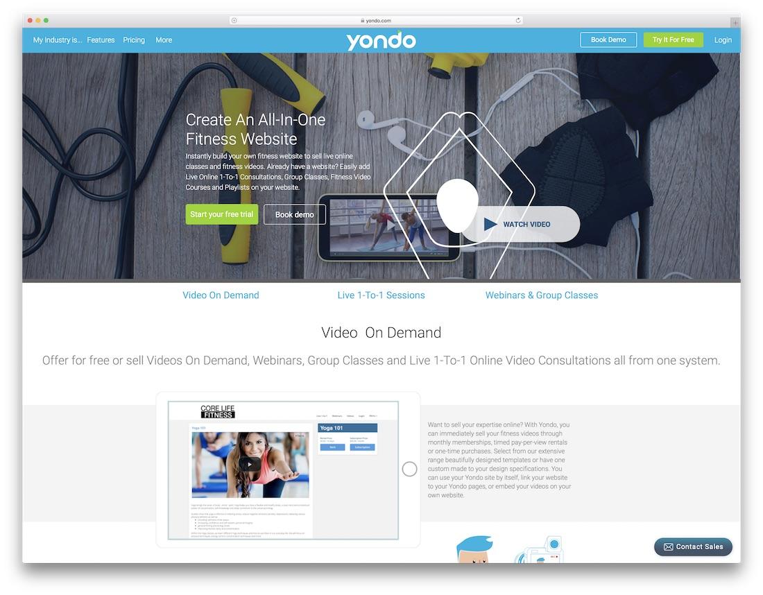 yondo website builder for fitness studio