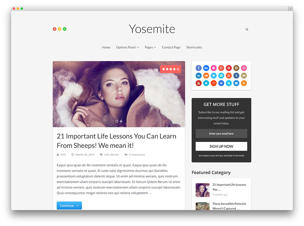 yosemite cool seo friendly blog theme