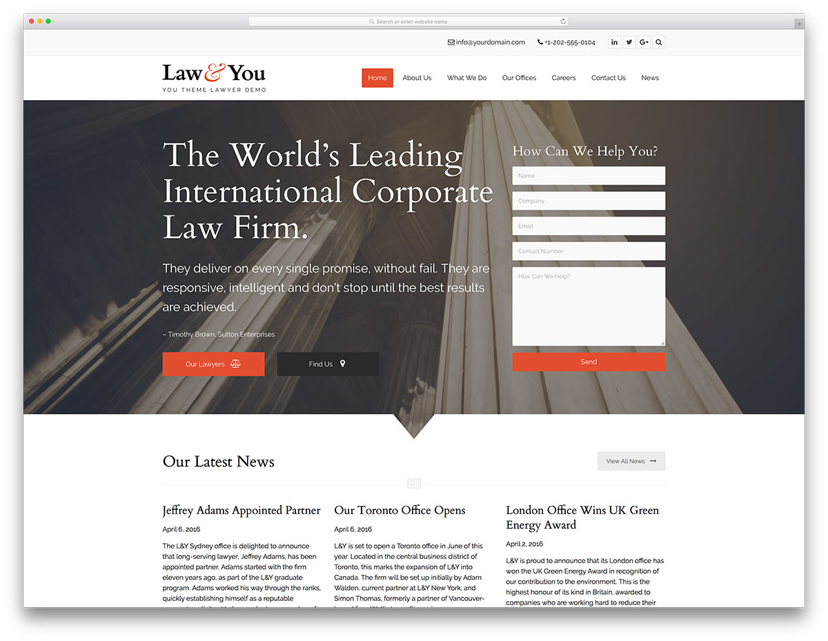 Best Lawyer WordPress Themes For Law Firms And Attorneys - Lawyer website template