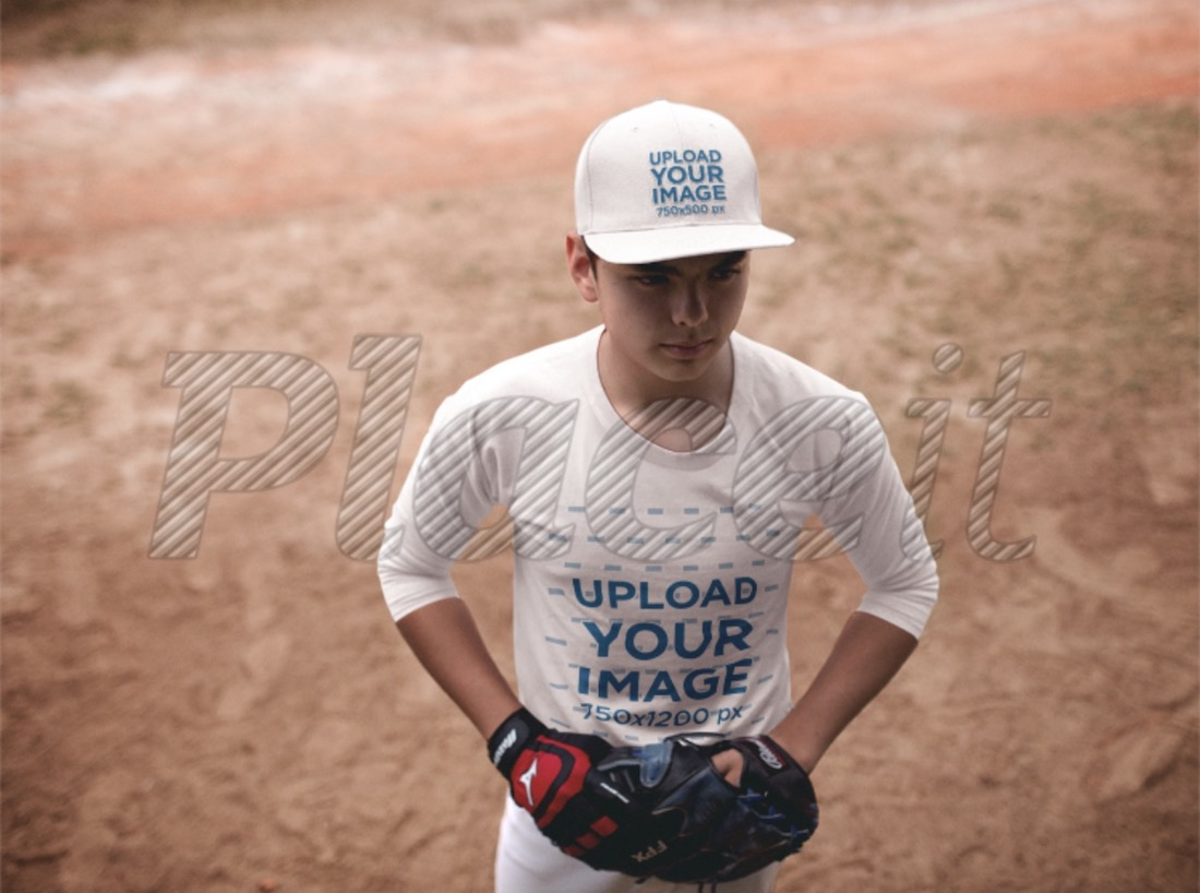 young boy wearing a baseball cap mockup