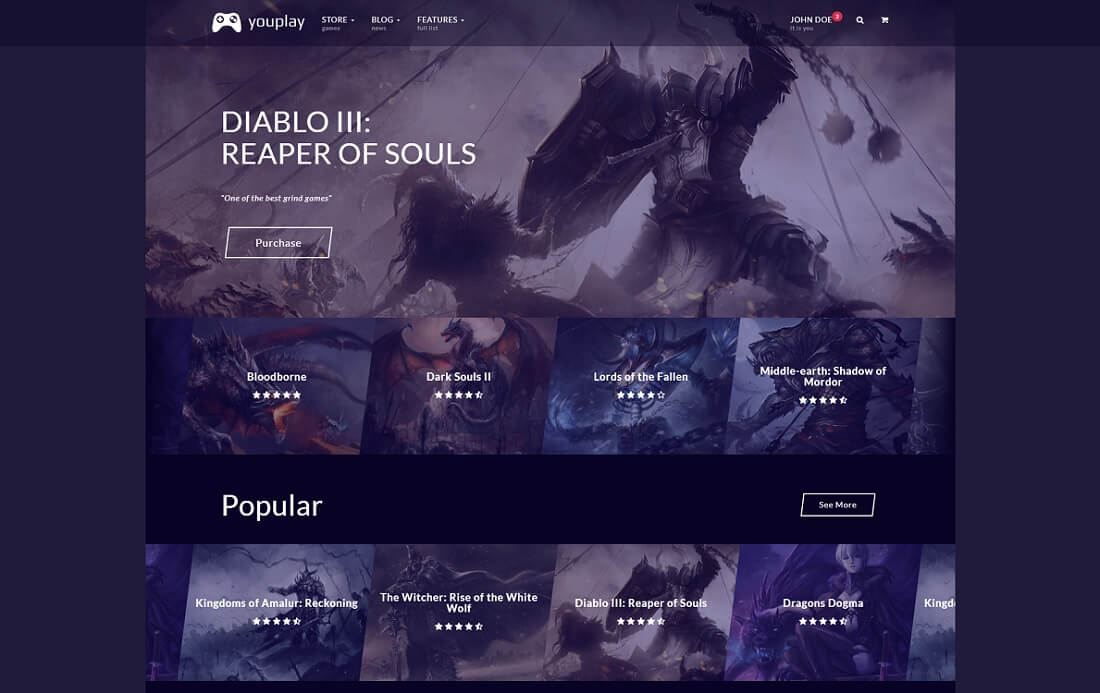 youplay website template