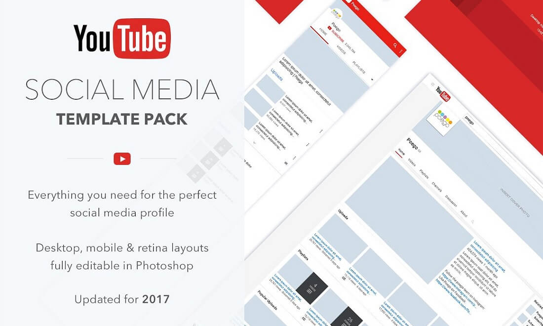 youtube social media template pack