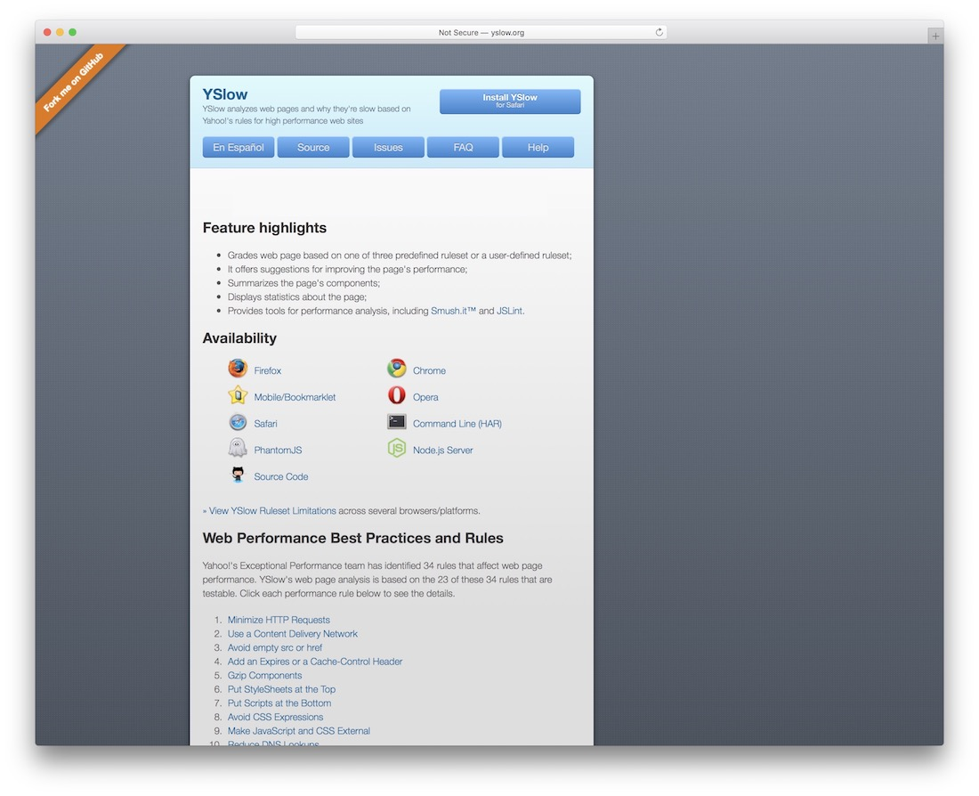 yslow website performance tool