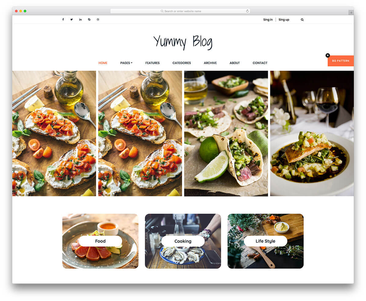 yummy free food blog template