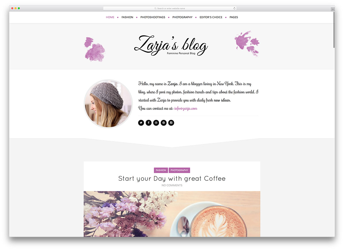 zarja-feminine-wordpress-blogging-theme