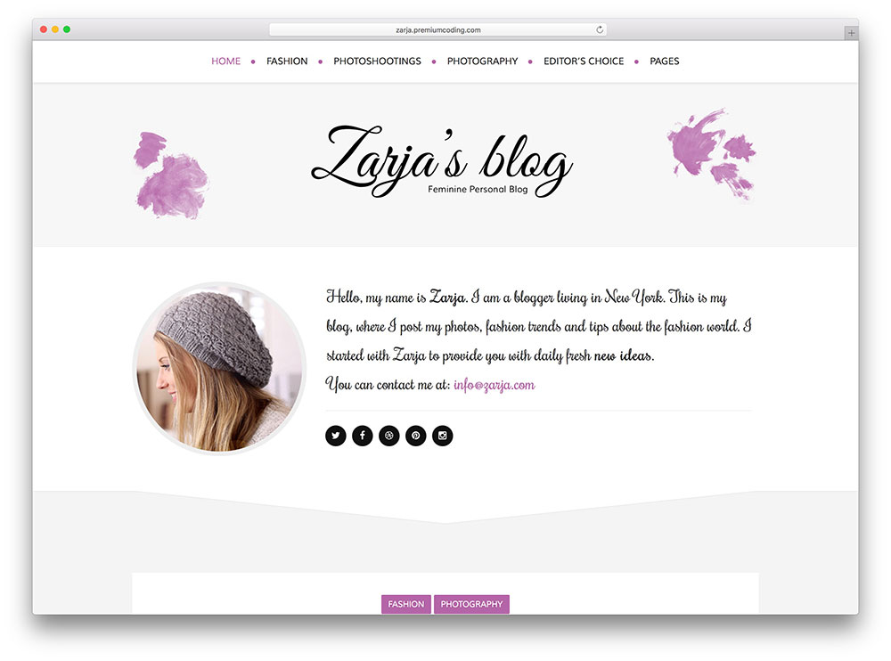 zarja - girly blog theme