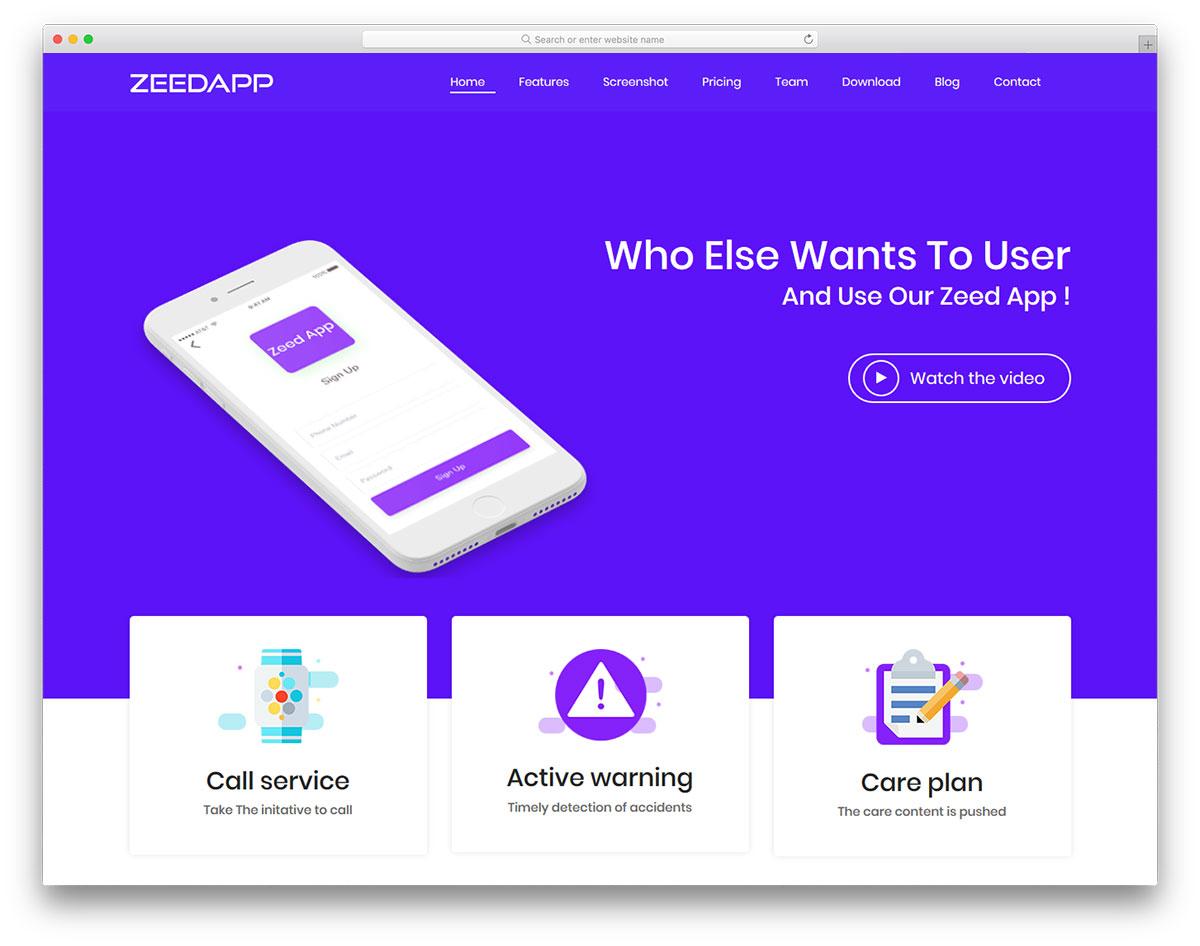 zeedapp free template