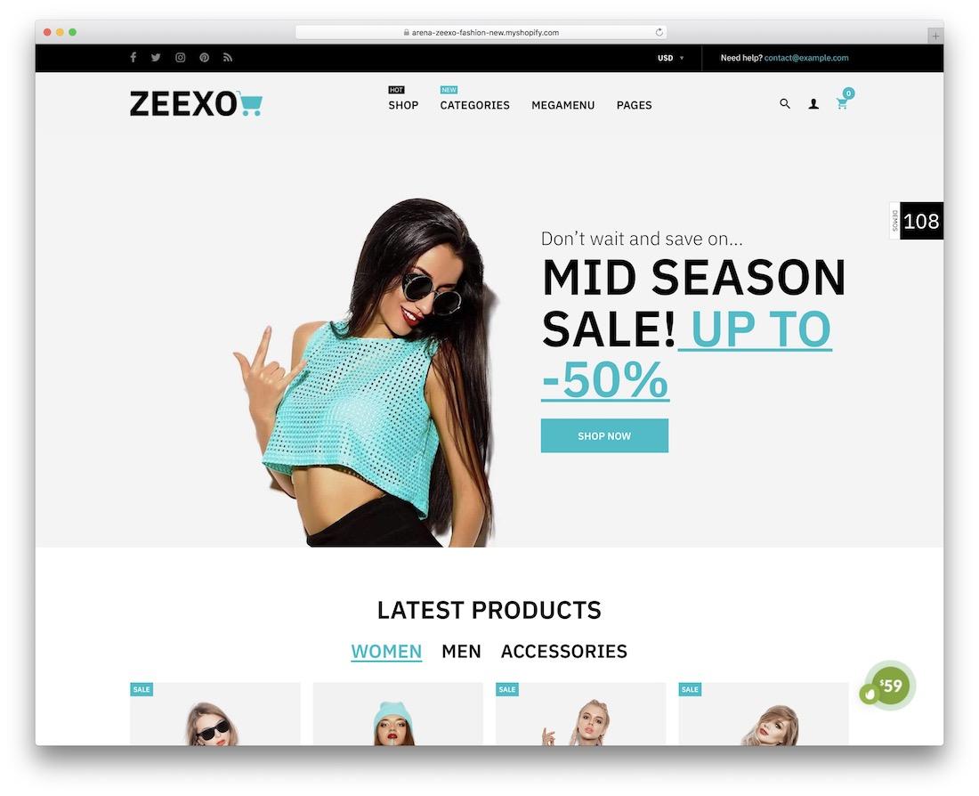 zeexo minimal shopify theme