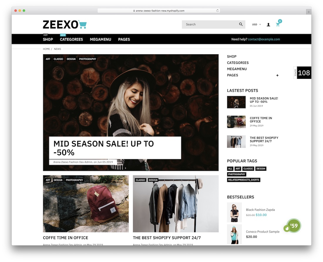 zeexo shopify blog theme
