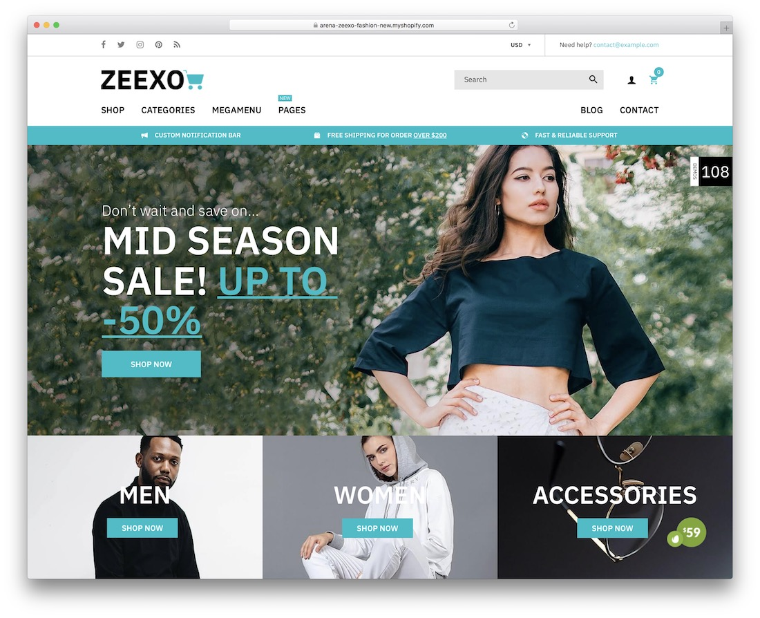 zeexo shopify theme for t-shirts