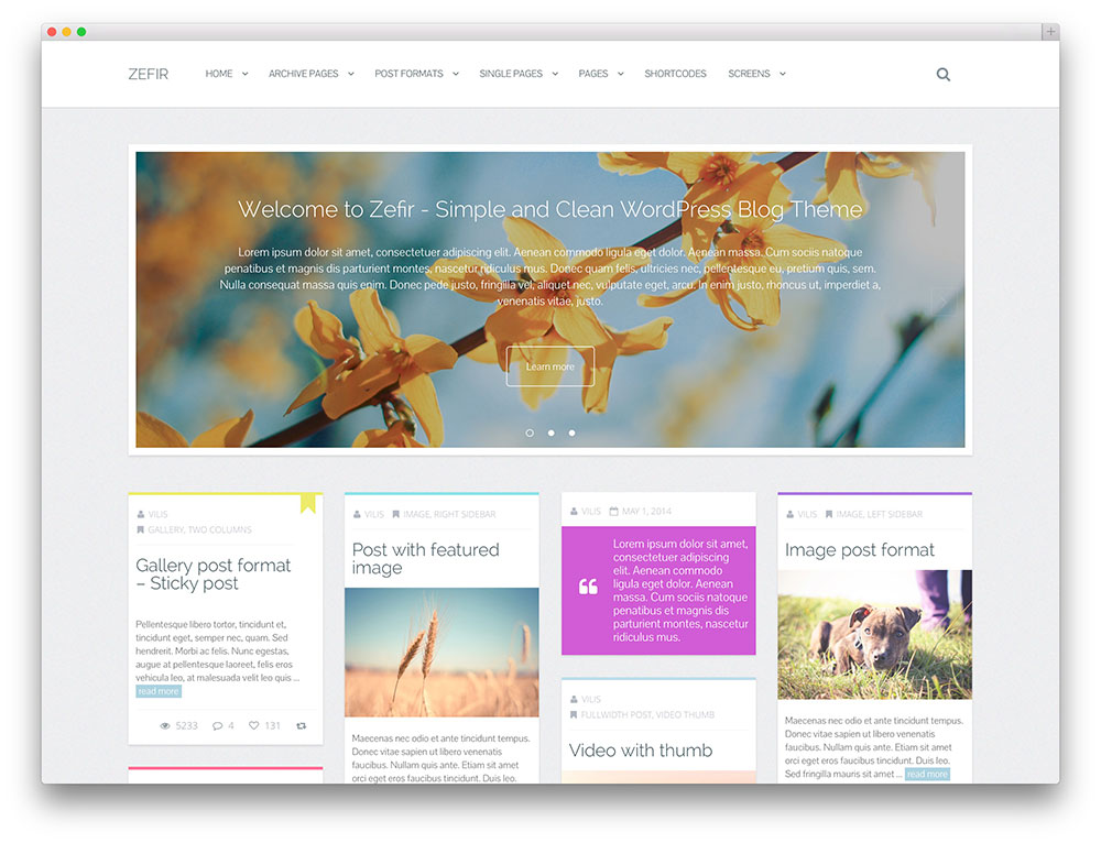 Zefir Masonry WordPress Theme