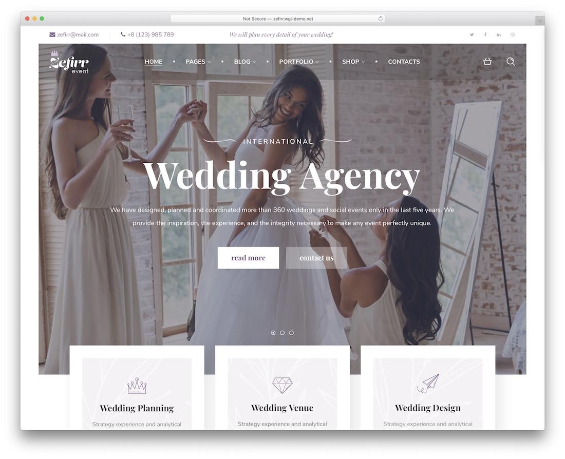 zefirr bridal wordpress theme