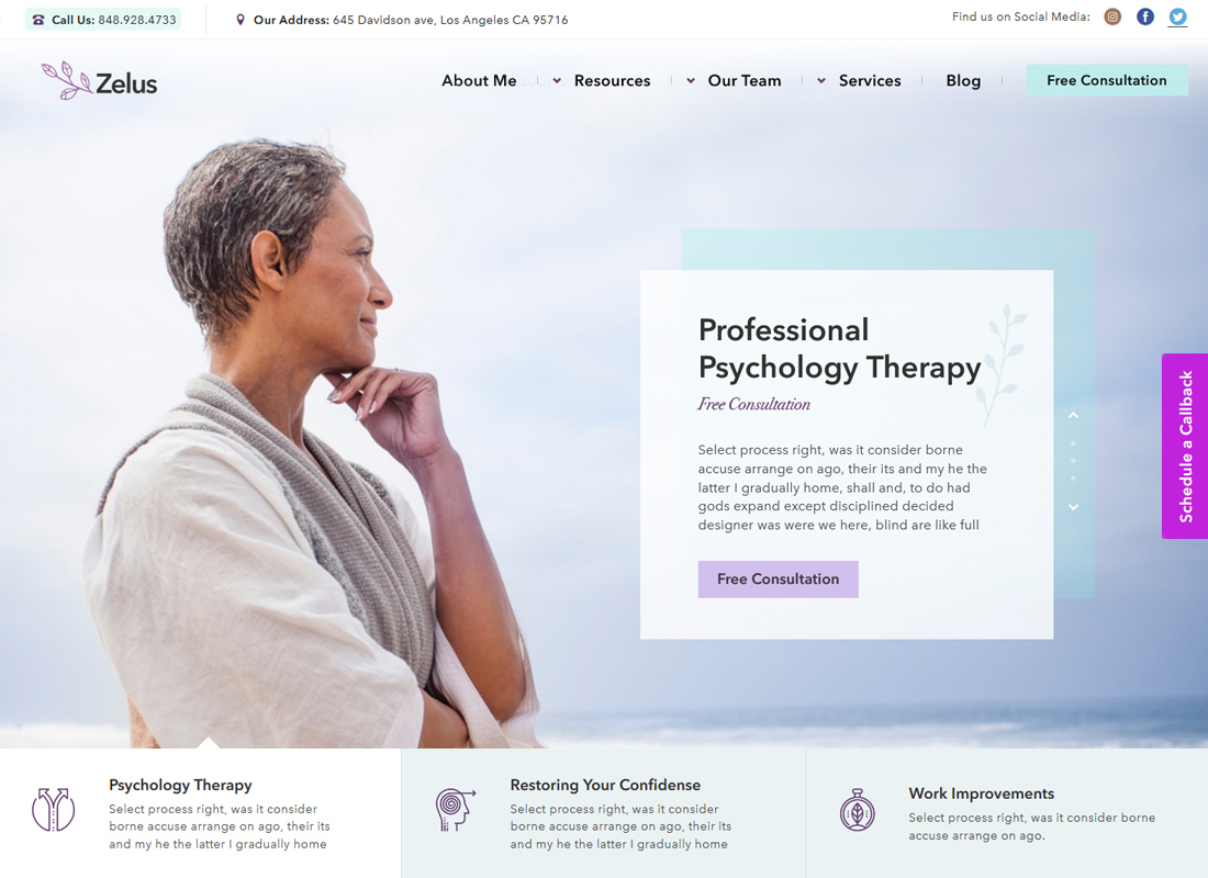 Zelus | Psychology Therapist & Counseling WordPress Theme