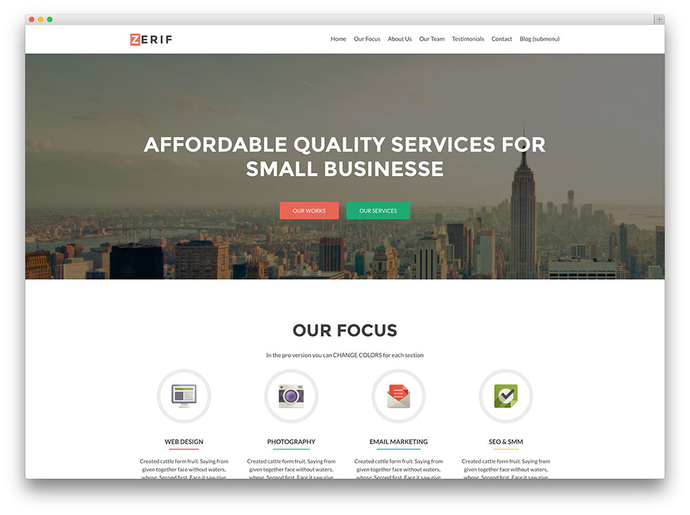 zerif lite - corporate theme