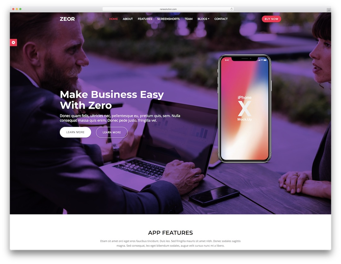 zero landing page template