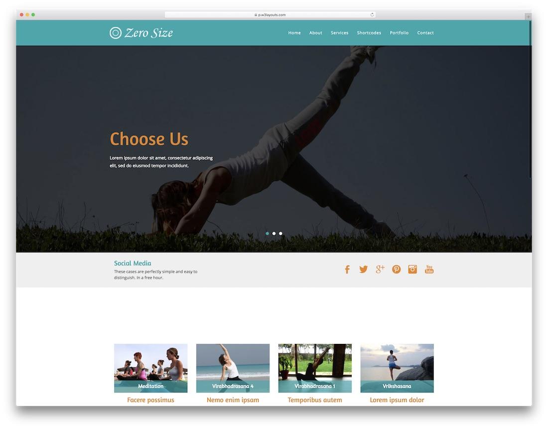 zero side free fitness website template