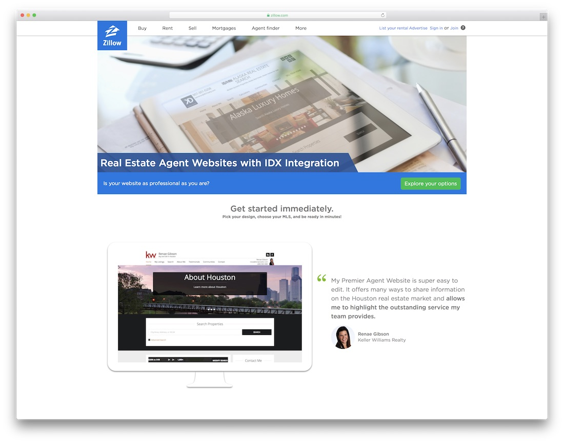 zillow real estate agent website builder