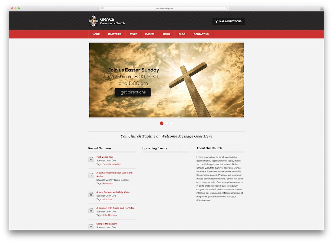 zion church website template