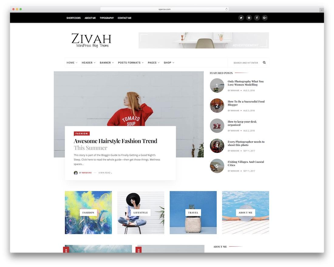 zivah wordpress food blog theme