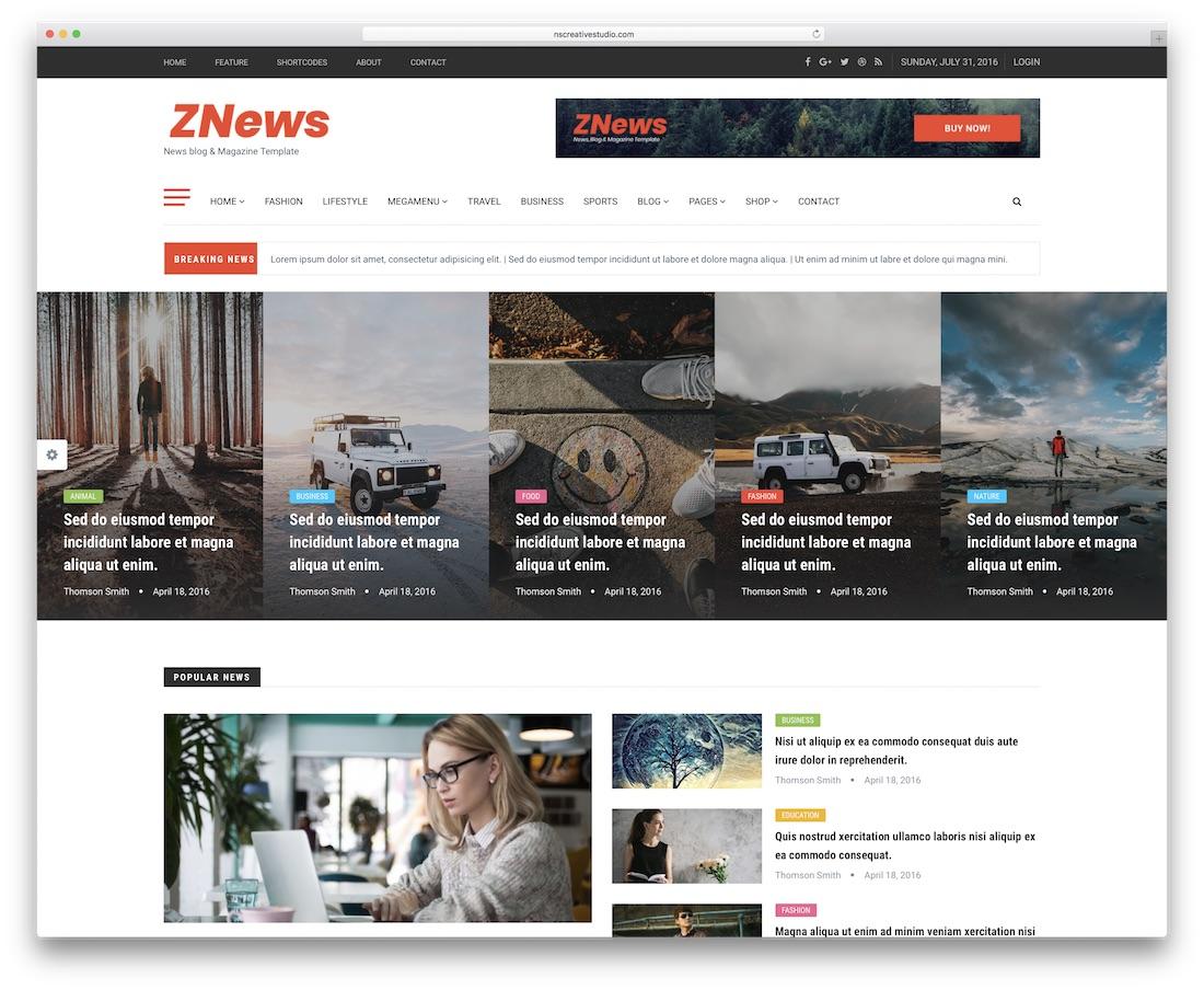 znews news website template