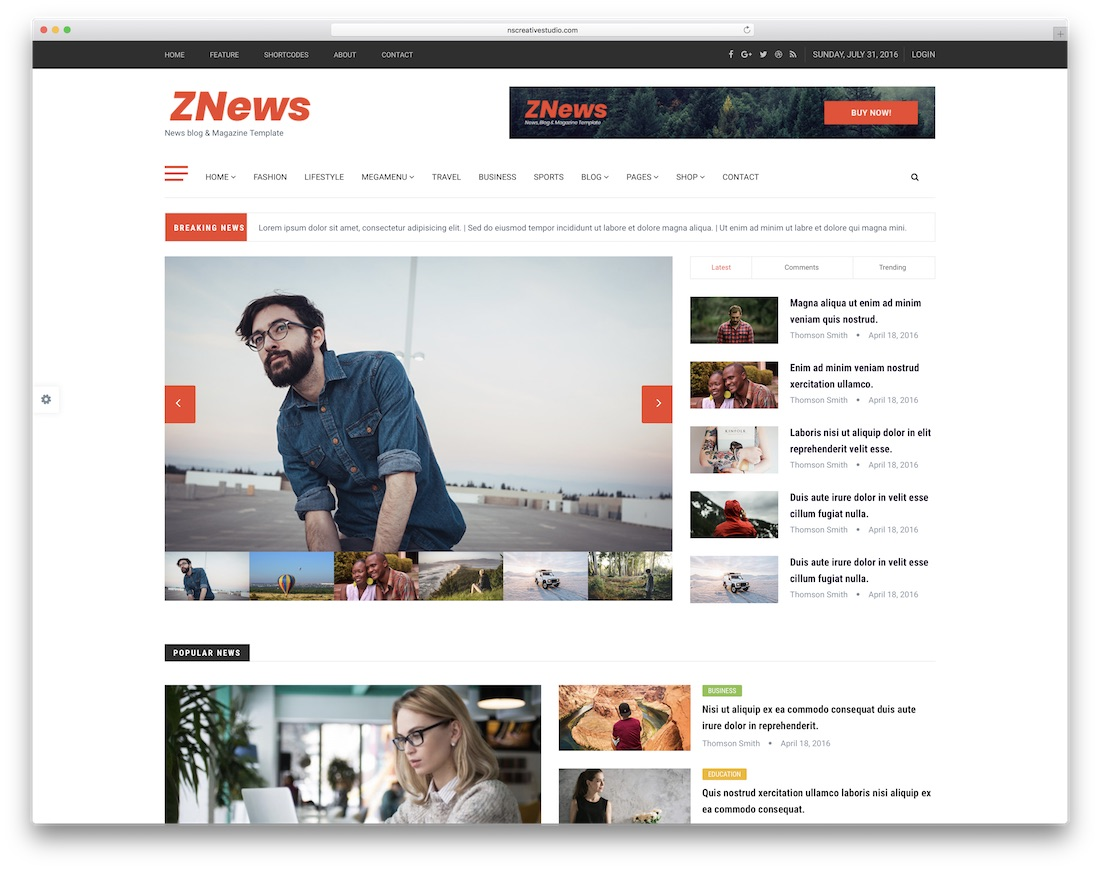 znews simple bootstrap template