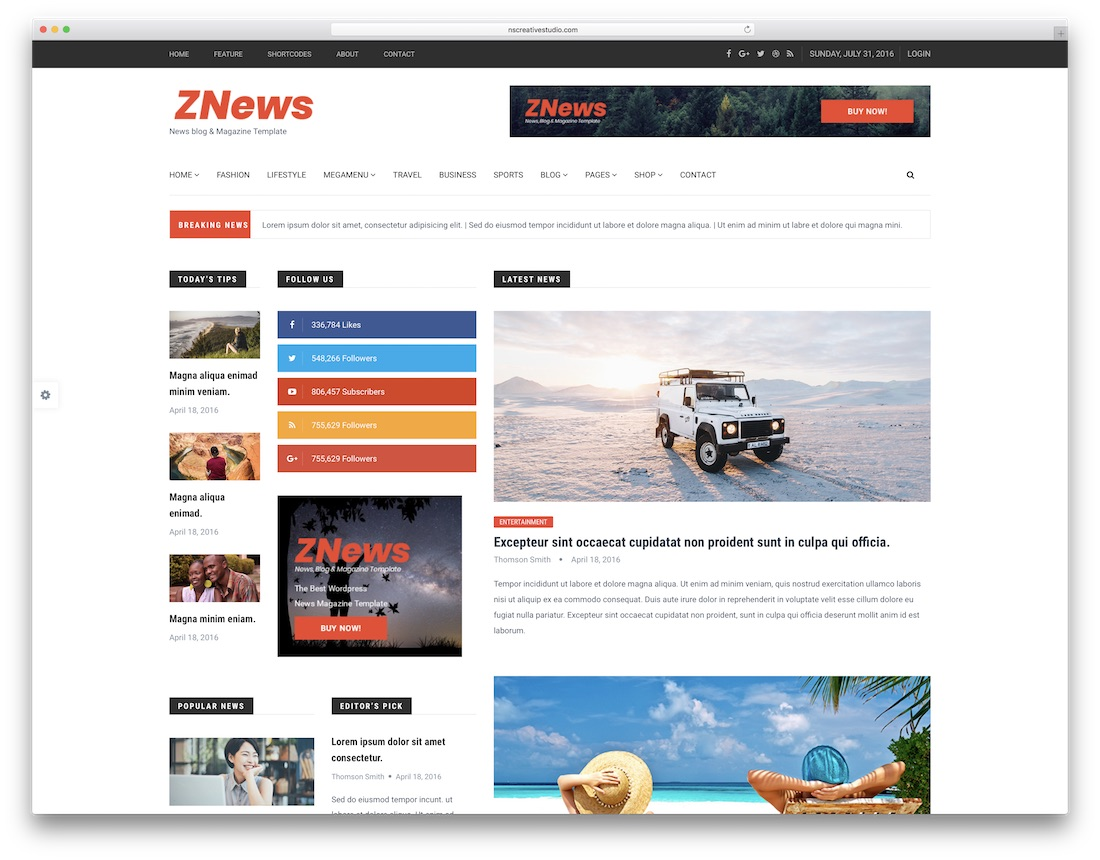 znews writer website template
