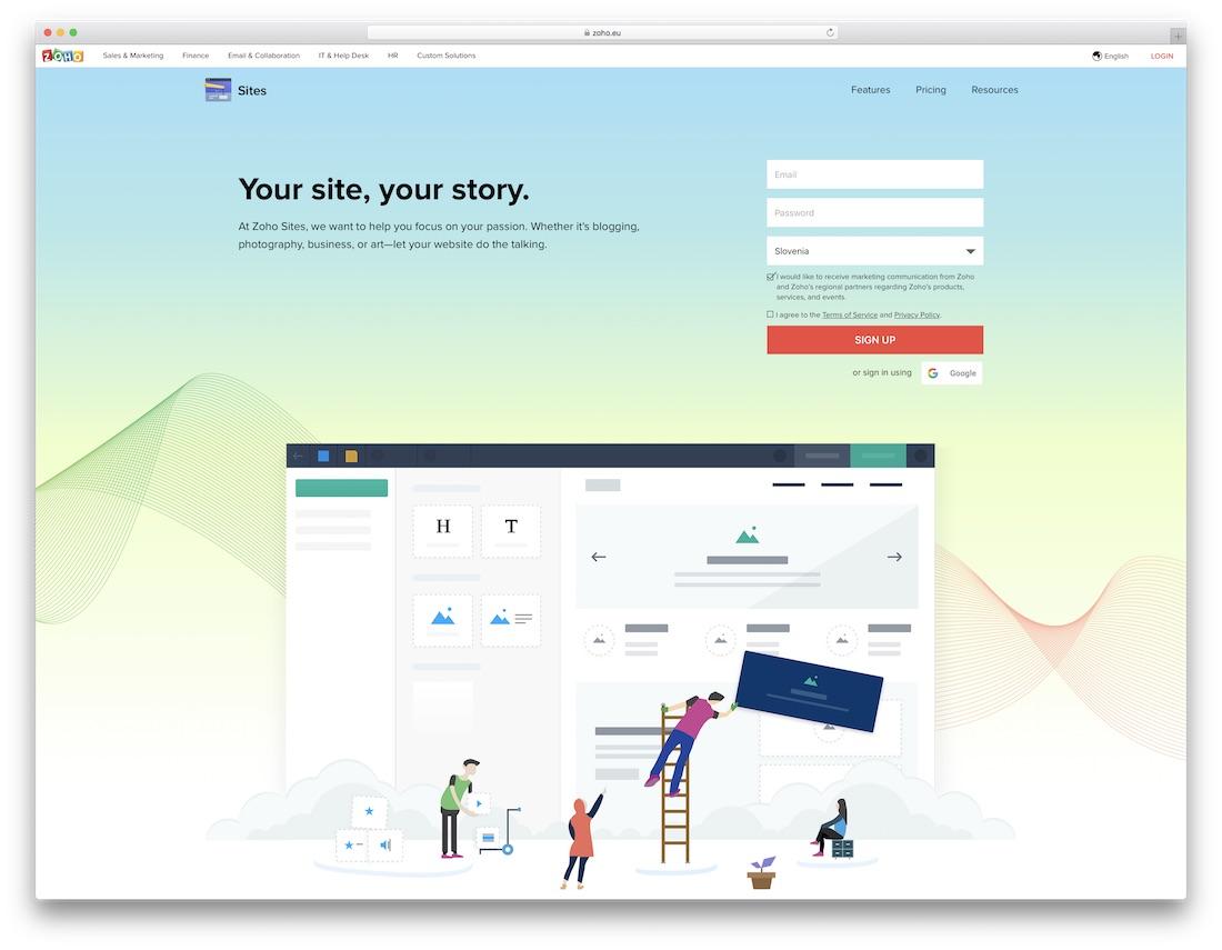 zoho diy website builder