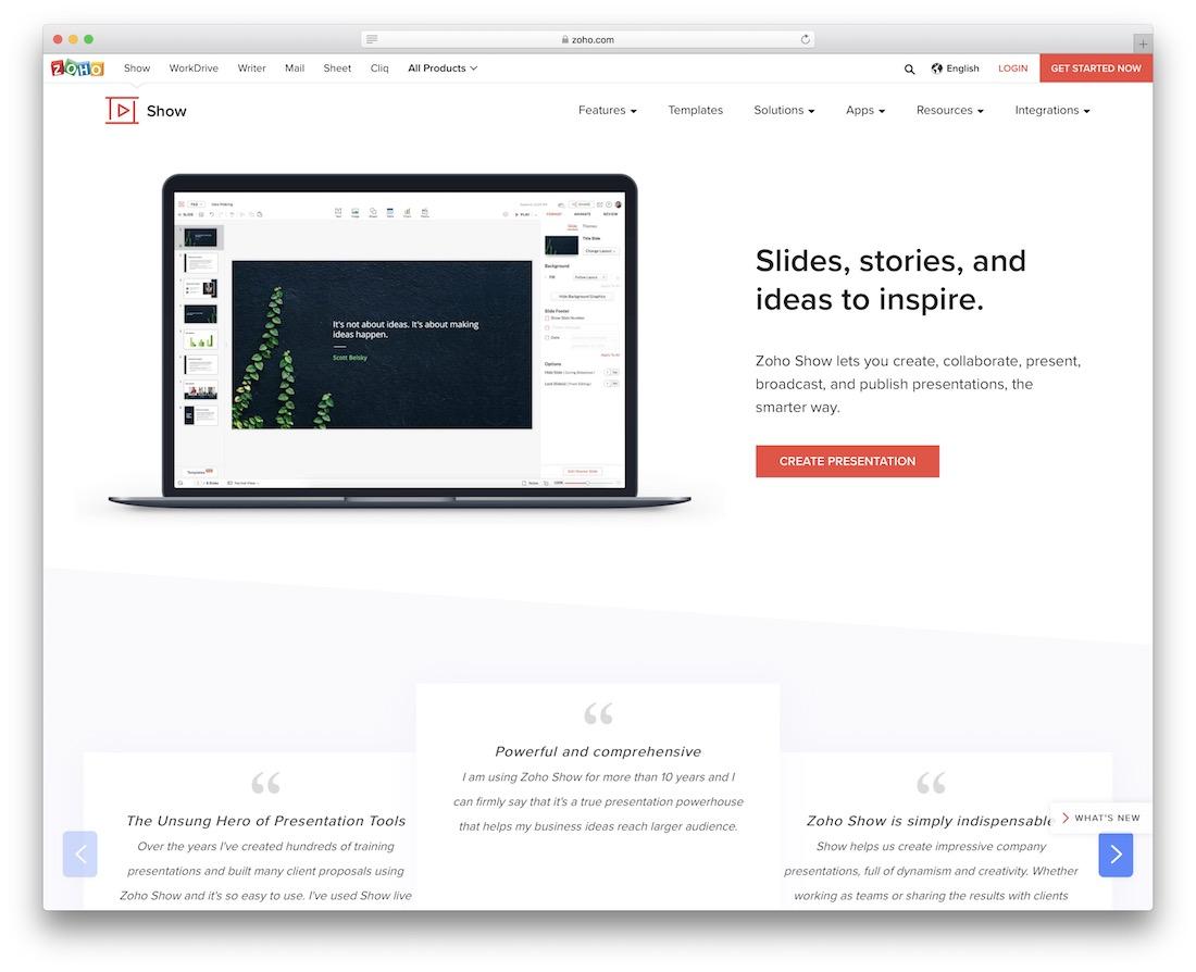 zoho tool for presentations