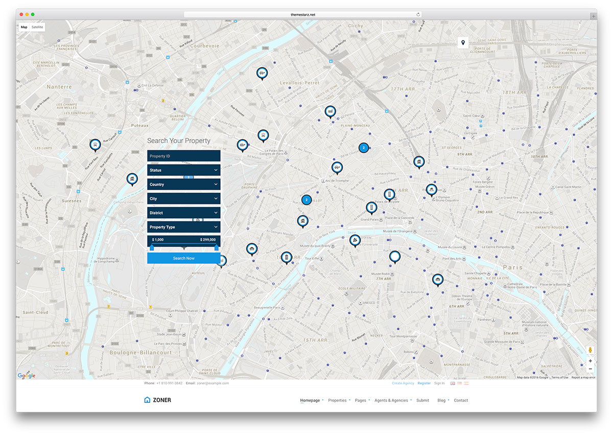 Alan adı-yaratıcı-tam ekran-harita-html-şablonu