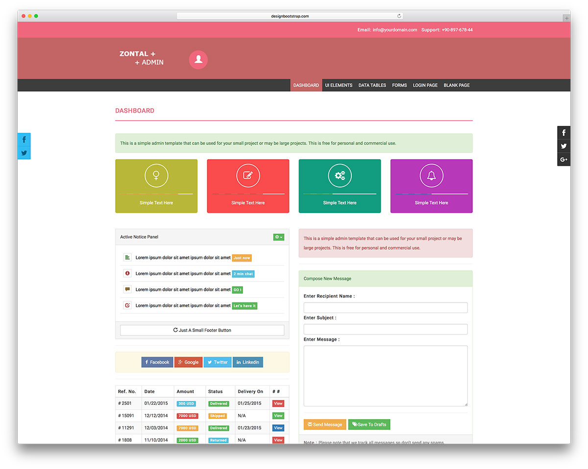 20 free bootstrap admin dashboard templates 2018 colorlib zontal is free bootstrap admin template for personal and commercial use it features nice animations and movement that is similar to material design falaconquin