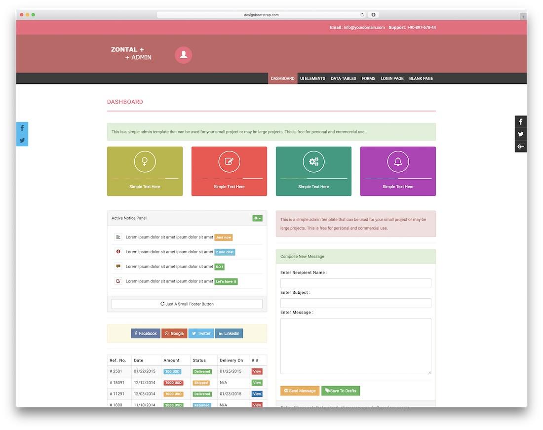 zontal admin free dashboard template
