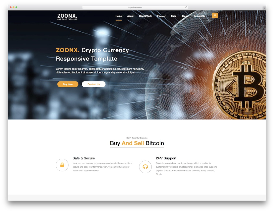 zoonx html5 one page website template