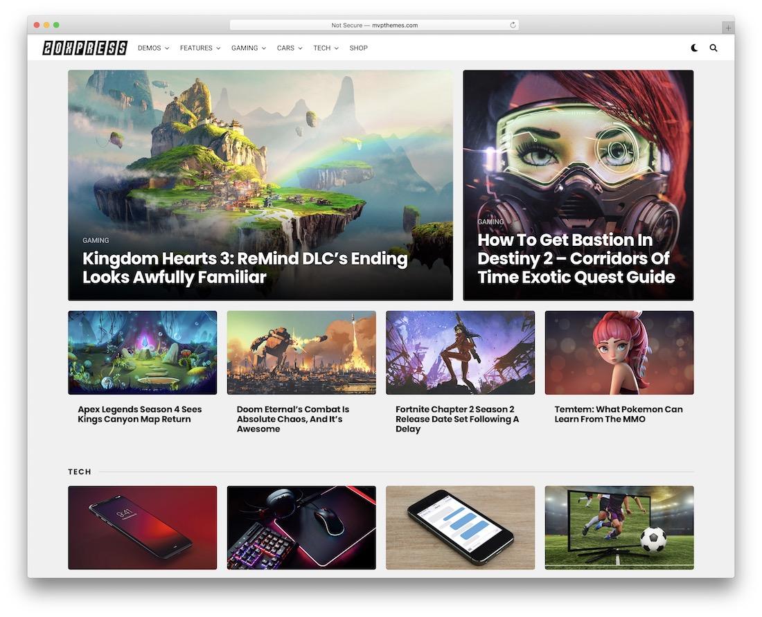 zoxpress gaming news wordpress theme