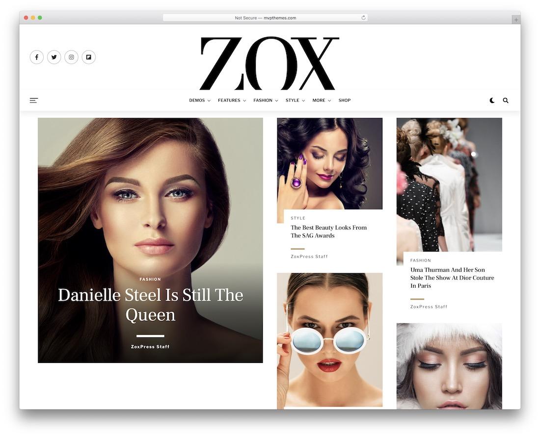 zoxpress glamor magazine theme