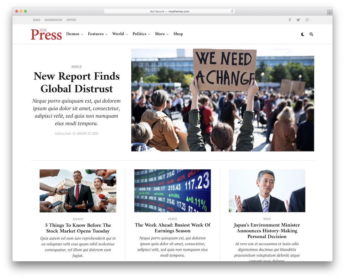 zoxpress news wordpress theme