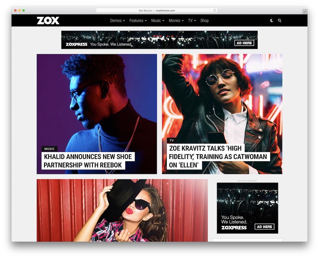 zoxpress wordpress entertainment theme