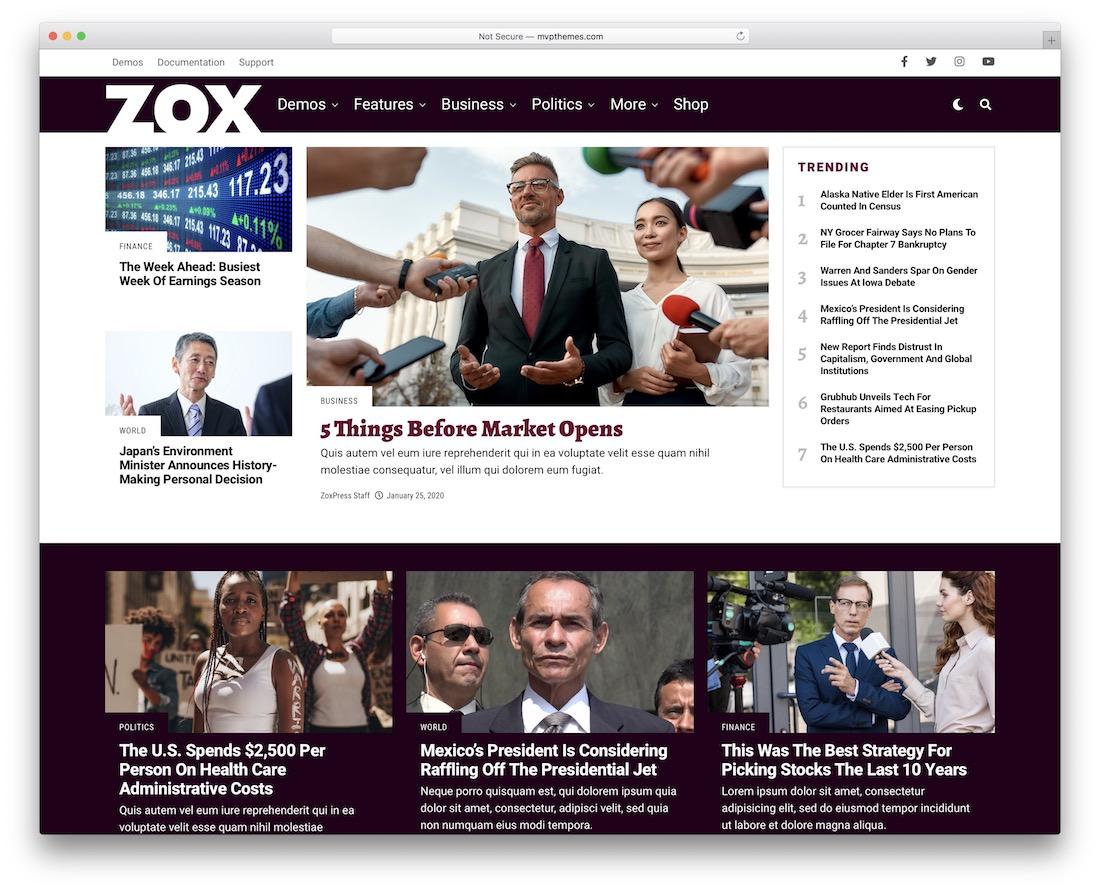 zoxpress wordpress newspaper theme