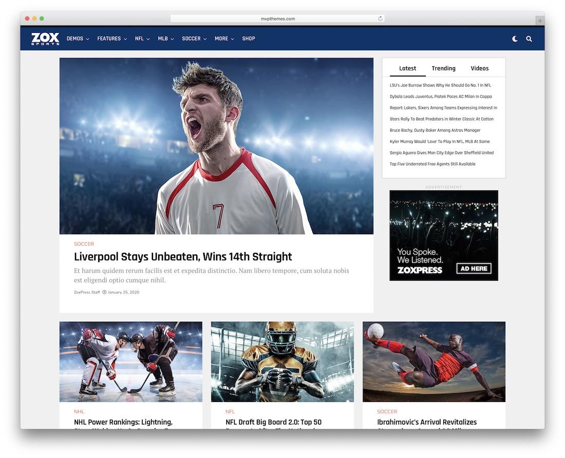 zoxpress wordpress sports theme