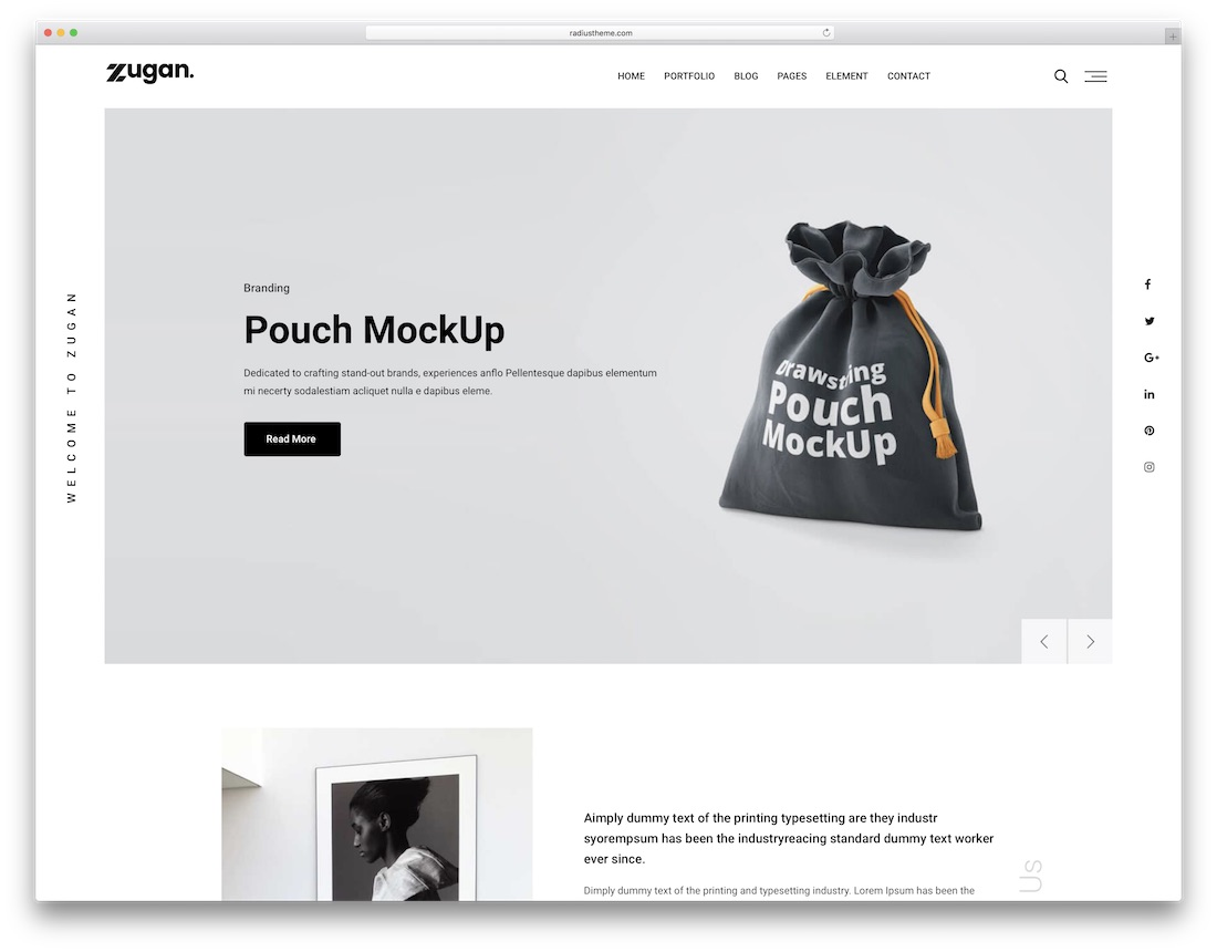zugan portfolio wordpress theme