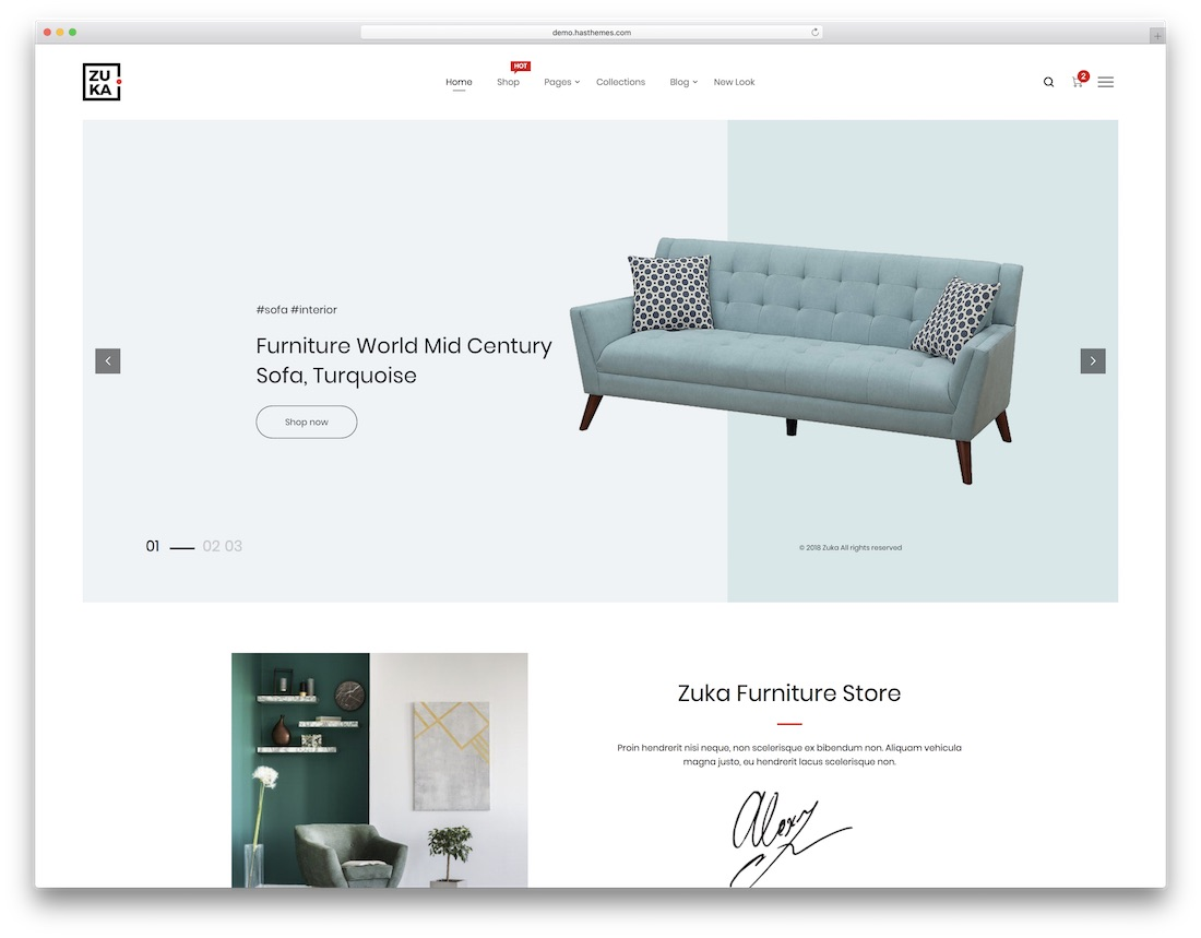 zuka minimal website template