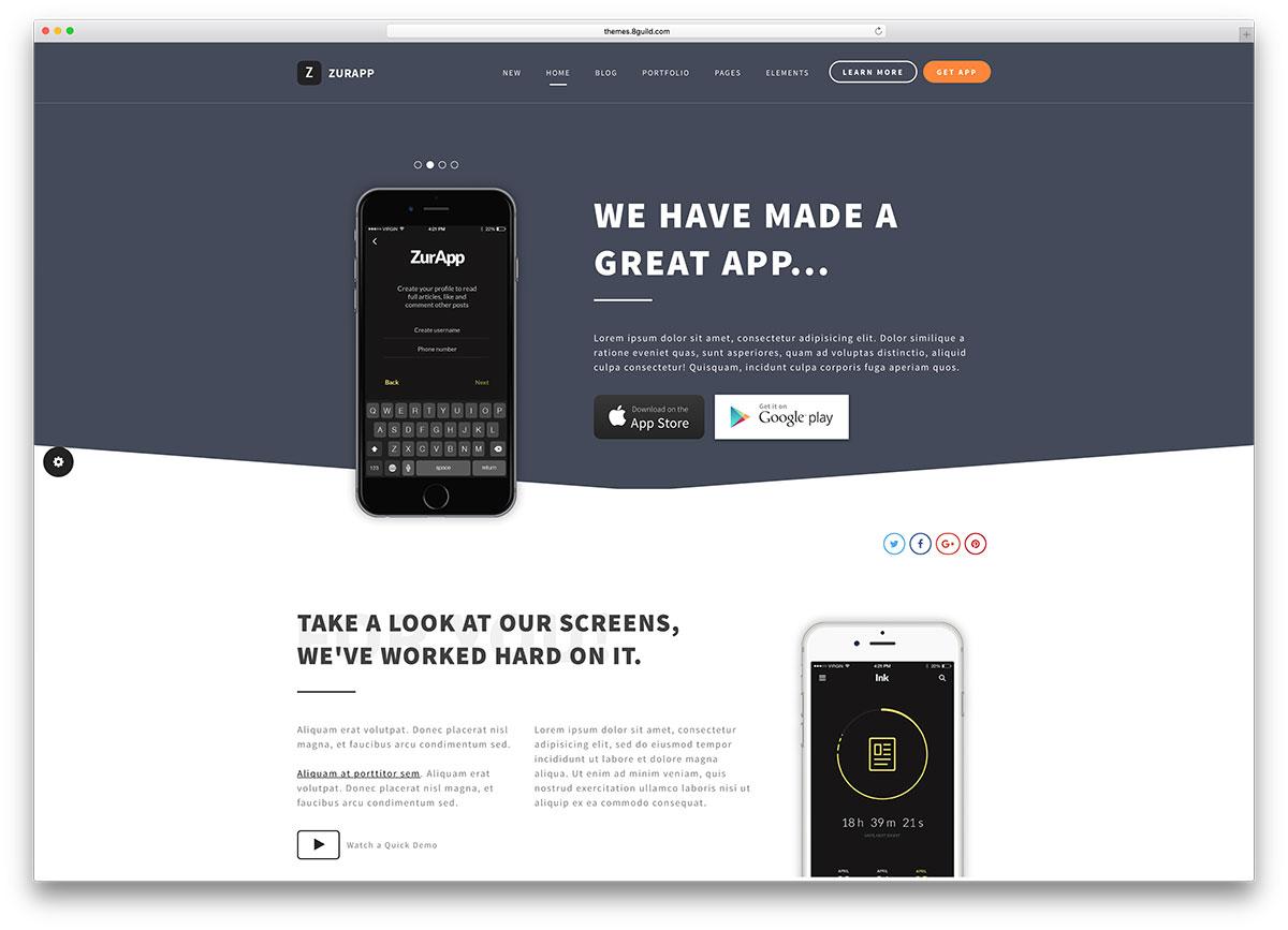 zurapp-app-showcase-wordpress-website-template