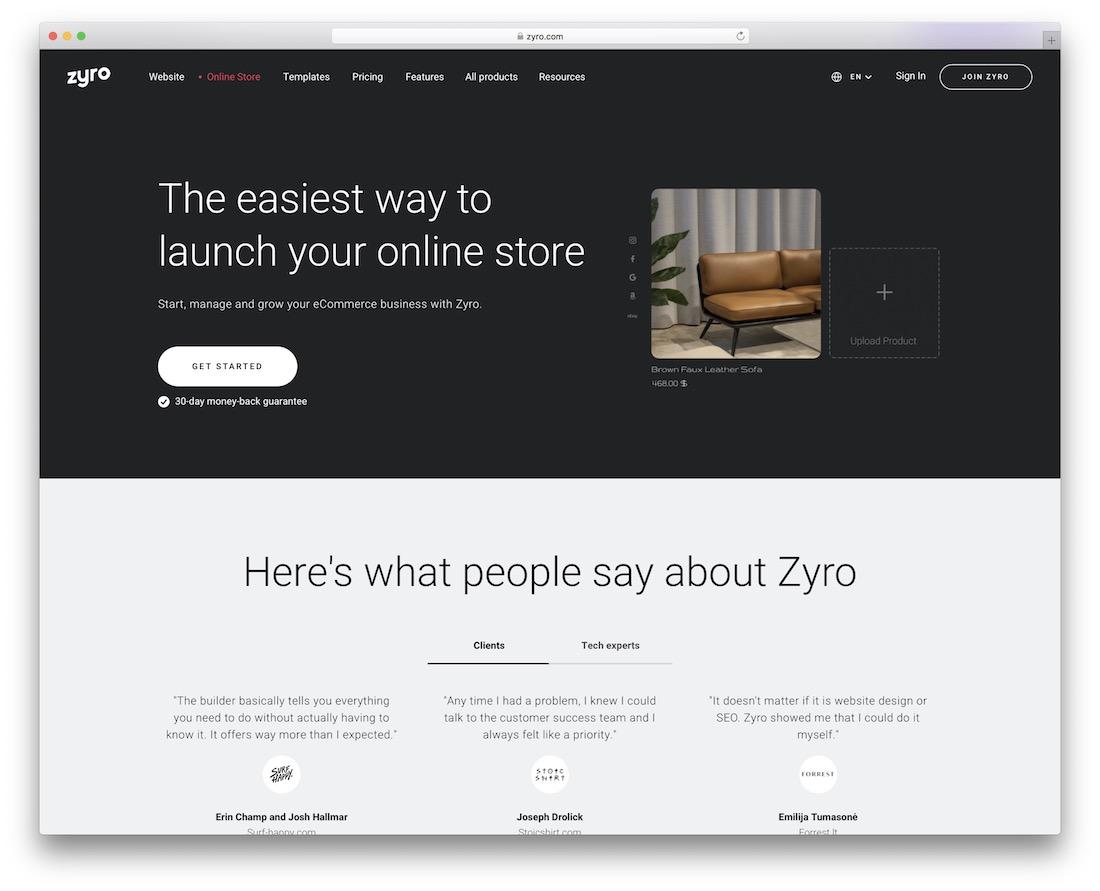zyro ecommerce website builder
